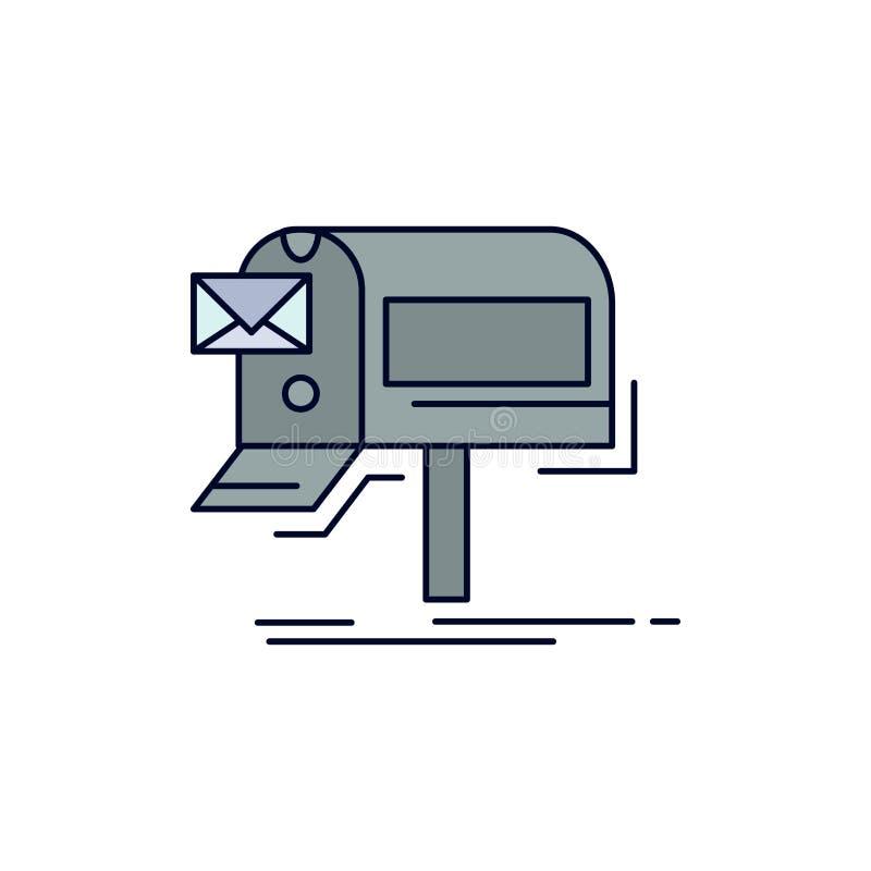 kampanie, email, marketing, gazetka, poczta koloru ikony Płaski wektor royalty ilustracja