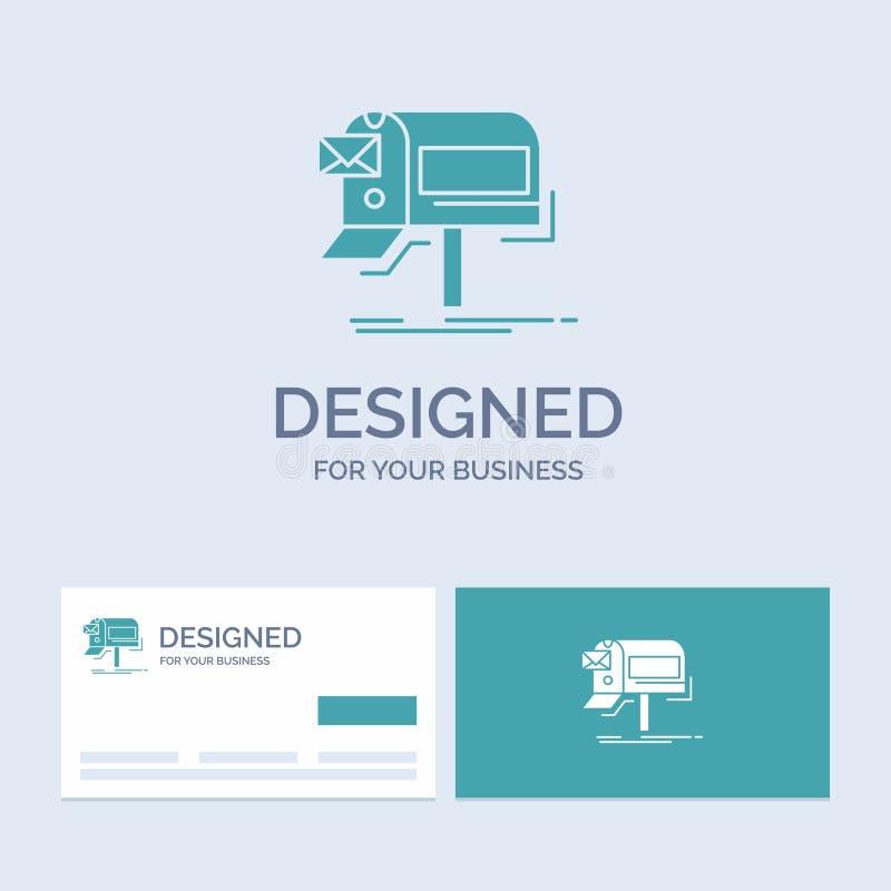 kampanie, email, marketing, gazetka, poczta logo glifu ikony Biznesowy symbol dla twój biznesu Turkusowe wizyt?wki z royalty ilustracja