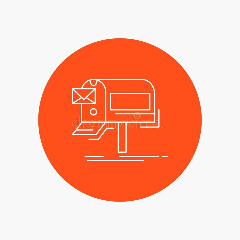 kampanie, email, marketing, gazetka, poczty Białej linii ikona w okręgu tle Wektorowa ikony ilustracja ilustracji