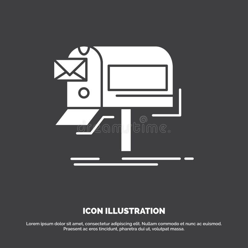 kampanie, email, marketing, gazetka, poczty ikona glifu wektorowy symbol dla UI, UX, strona internetowa i wisz?cej ozdoby zastoso ilustracja wektor