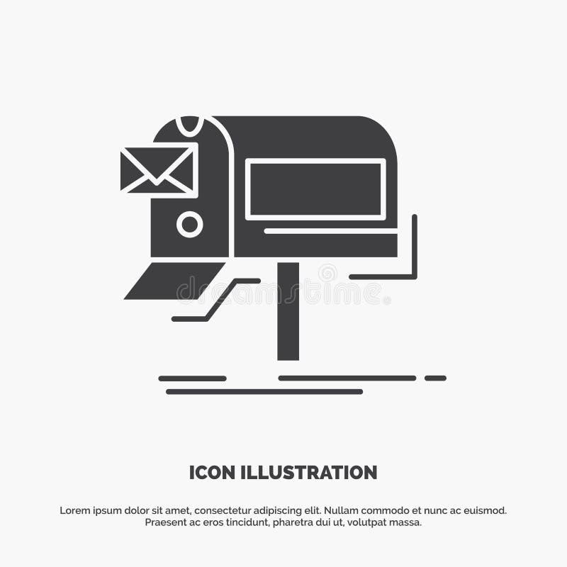 kampanie, email, marketing, gazetka, poczty ikona glifu wektorowy szary symbol dla UI, UX, strona internetowa i wisz?cej ozdoby z ilustracja wektor