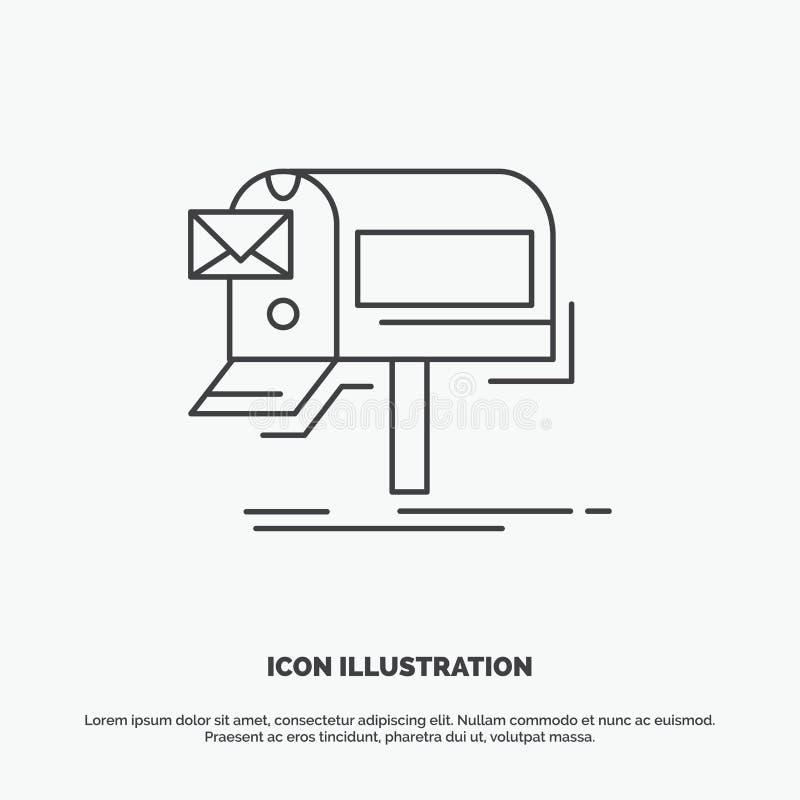 kampanie, email, marketing, gazetka, poczty ikona Kreskowy wektorowy szary symbol dla UI, UX, strona internetowa i wisz?cej ozdob ilustracja wektor