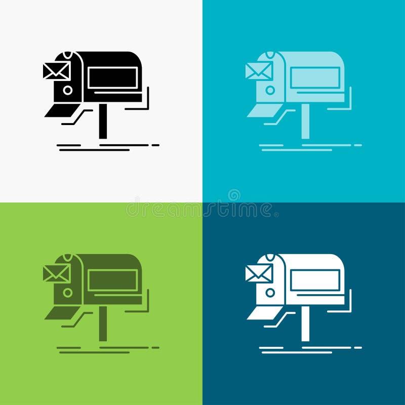 kampanie, email, marketing, gazetka, poczty ikona Nad R??norodnym t?em glifu stylu projekt, projektuj?cy dla sieci i app 10 eps ilustracji