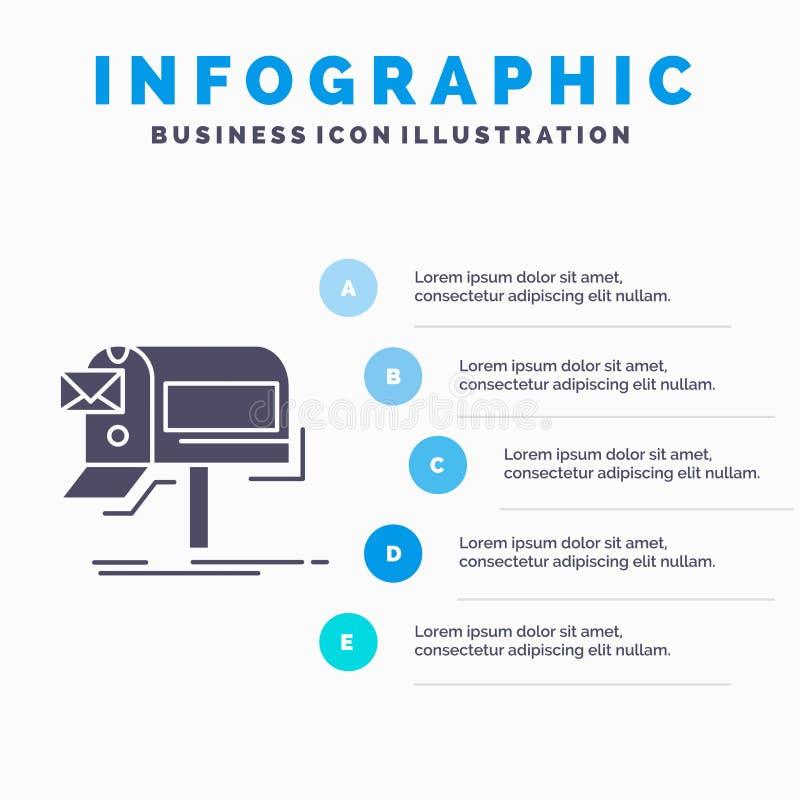 kampanie, email, marketing, gazetka, poczty Infographics szablon dla strony internetowej i prezentacja, glif Szara ikona z b??kit ilustracja wektor