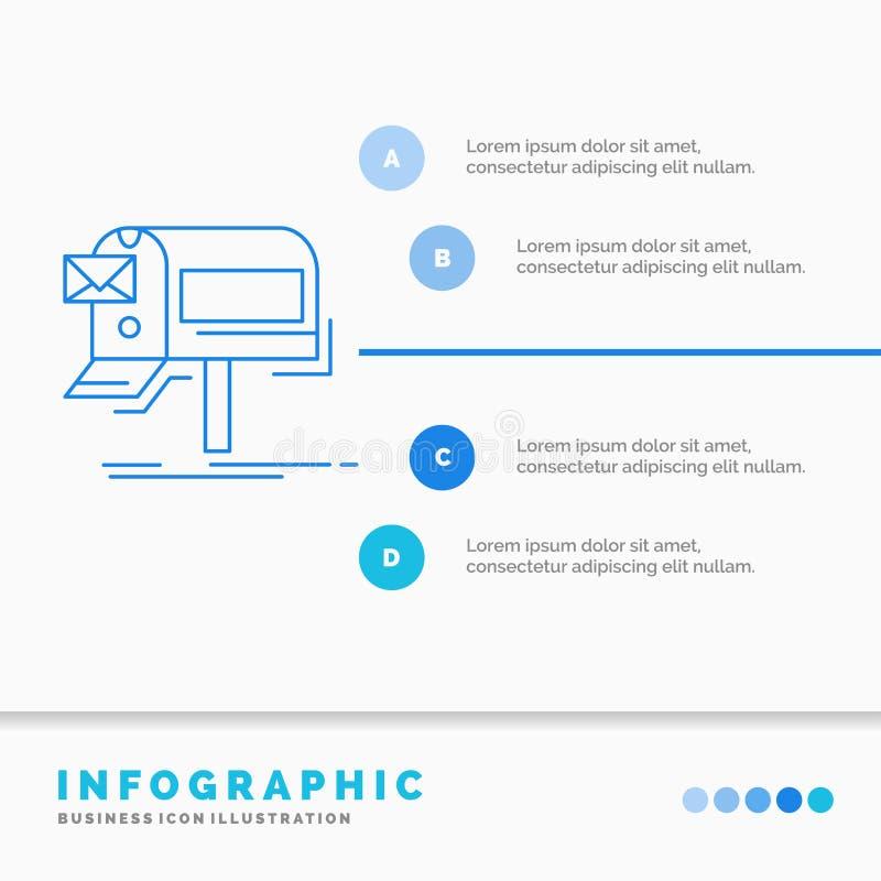 kampanie, email, marketing, gazetka, poczty Infographics szablon dla strony internetowej i prezentacja, Kreskowej B??kitnej ikony ilustracja wektor