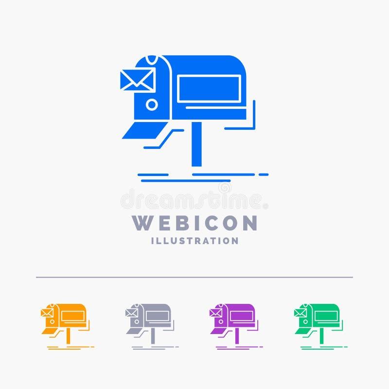 kampanie, email, marketing, gazetka, poczty 5 koloru glifu sieci ikony szablon odizolowywający na bielu r?wnie? zwr?ci? corel ilu royalty ilustracja