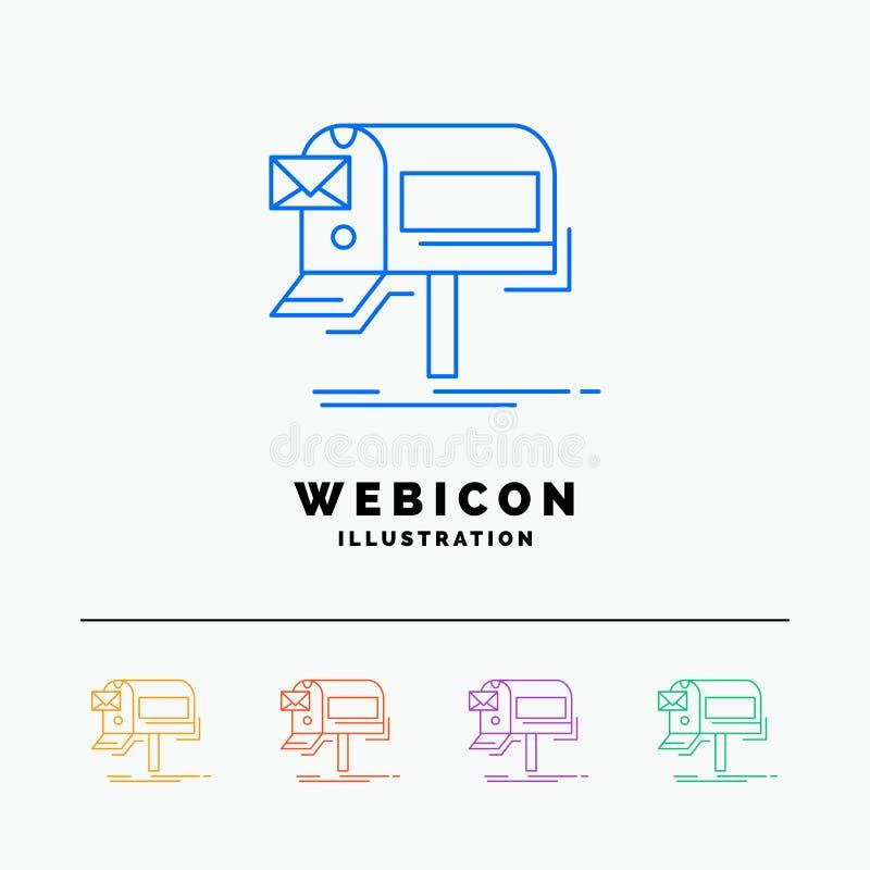 kampanie, email, marketing, gazetka, poczty 5 koloru linii sieci ikony szablon odizolowywający na bielu r?wnie? zwr?ci? corel ilu ilustracja wektor