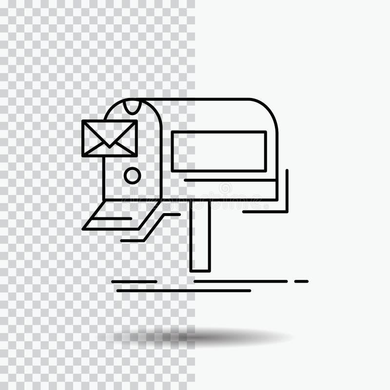 kampanie, email, marketing, gazetka, poczty Kreskowa ikona na Przejrzystym tle Czarna ikona wektoru ilustracja ilustracja wektor