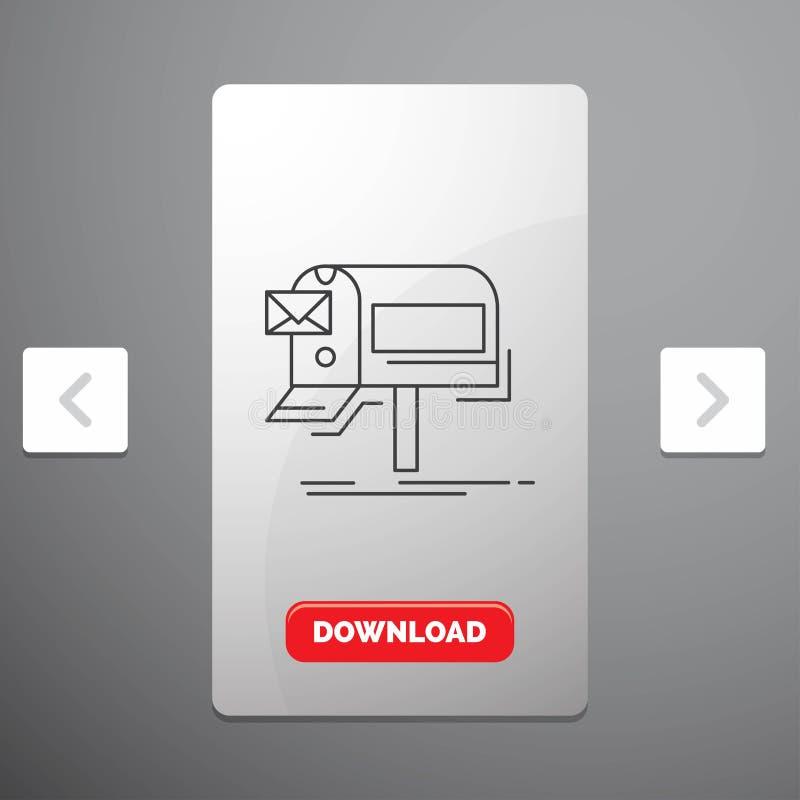 kampanie, email, marketing, gazetka, poczty Kreskowa ikona w biby paginacji suwaka projekcie & Czerwony ściąganie guzik, royalty ilustracja