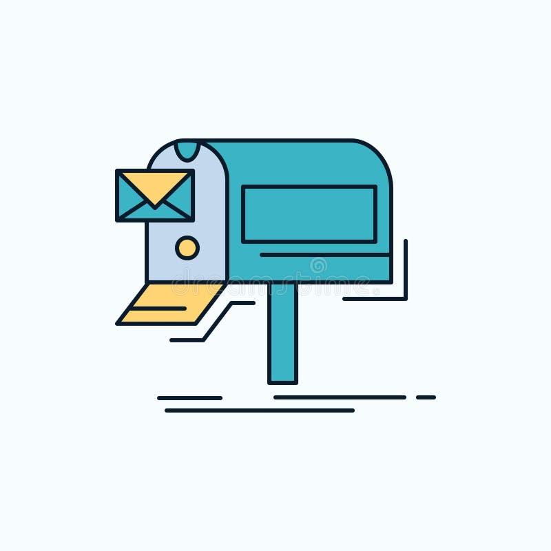 kampanie, email, marketing, gazetka, poczty mieszkania ikona ziele?, kolor royalty ilustracja