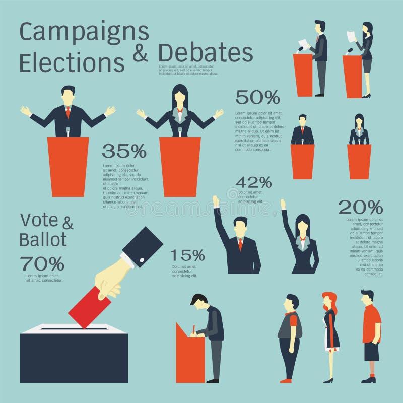 Kampanie i wybory ilustracja wektor
