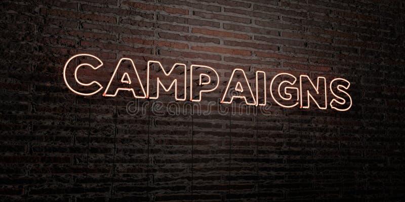 KAMPANIE - Realistyczny Neonowy znak na ściana z cegieł tle - 3D odpłacający się królewskość bezpłatny akcyjny wizerunek ilustracja wektor