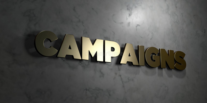 Kampanie - Złocisty tekst na czarnym tle - 3D odpłacający się królewskość bezpłatny akcyjny obrazek royalty ilustracja