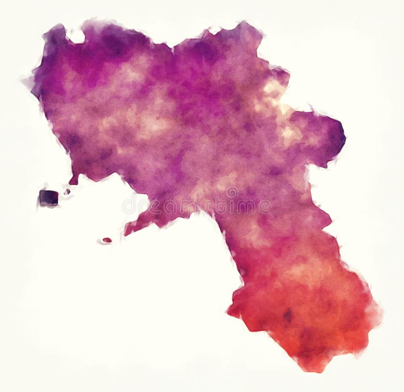 Kampanien-Regionsaquarellkarte von Italien vor einer Weißrückseite stock abbildung