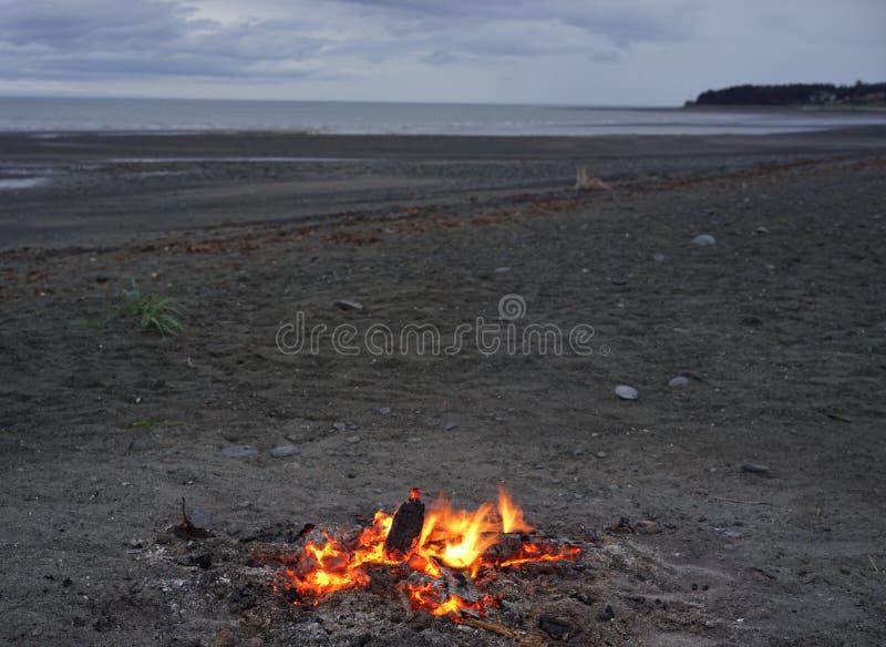 Kampbrand op Strand stock afbeelding