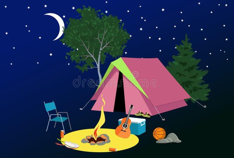 Kampeerterrein bij nacht vector illustratie