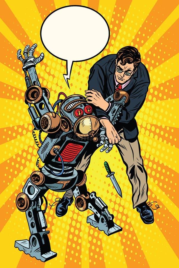 Kampen av en man och en beväpnad robot stock illustrationer