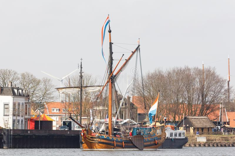 Kampen, The Netherlands - March 30, 2018: State Yacht De Utrecht. Is sailing to Kampen to attend Sail Kampen royalty free stock photography