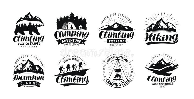 Kamperend, beklimmend embleem of etiket Wandelingsreis, stijgingsreeks van pictogrammen Het van letters voorzien vector vector illustratie