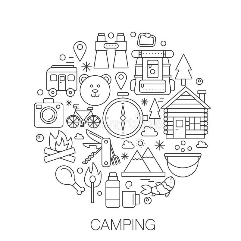 Kamperend in cirkel - de illustratie van de conceptenlijn voor dekking, embleem, kenteken Bergen de bos het kamperen dunne pictog royalty-vrije illustratie