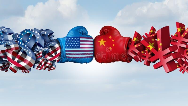 Kampf Chinas Yuan And American Dollar stock abbildung