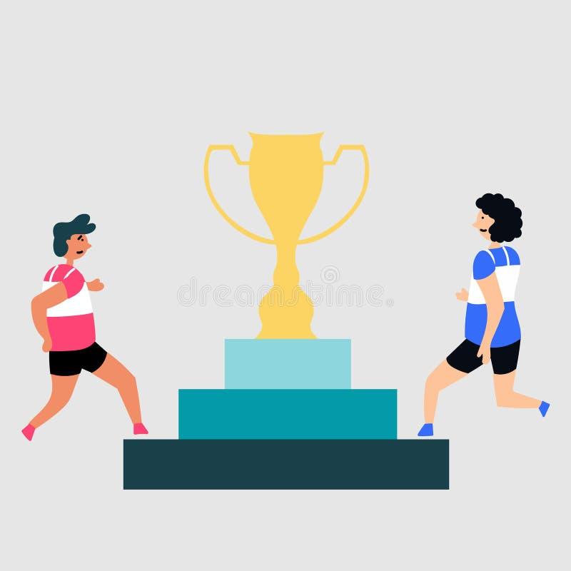 Kampf für die Preisschale Wettbewerb im Sport bedienpult vektor abbildung