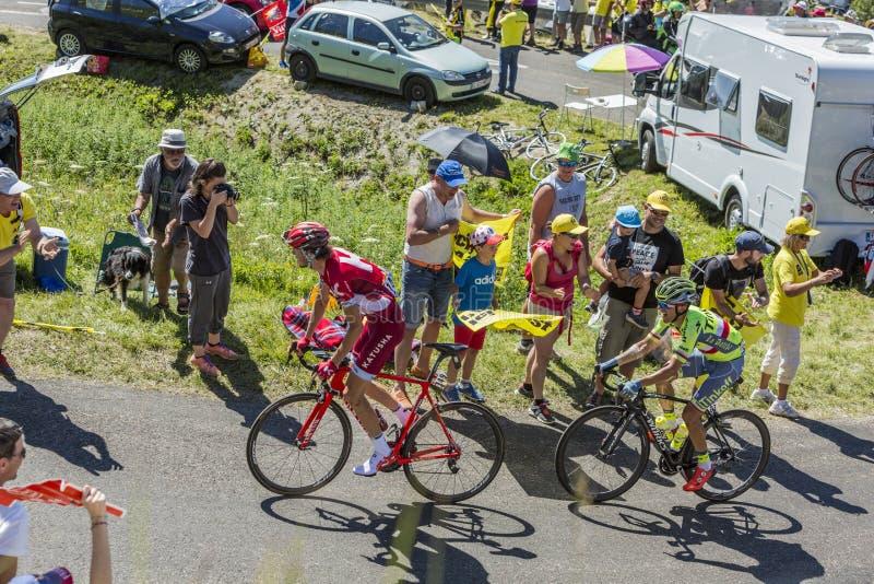 Kampf in Jura Mountains - Tour de France 2016 stockfotos