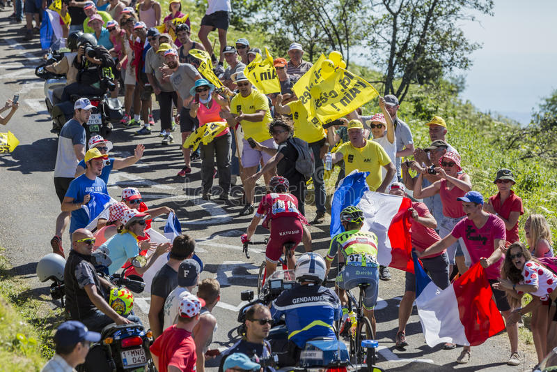 Kampf in Jura Mountains - Tour de France 2016 stockfotografie