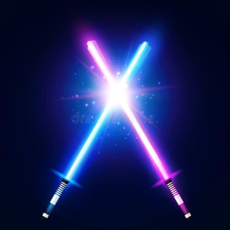 Kampf mit zwei gekreuzter heller Neonklingen Blauer und purpurroter Kreuzungslaser-Säbelkrieg Glühende Strahlen im Raum vektor abbildung