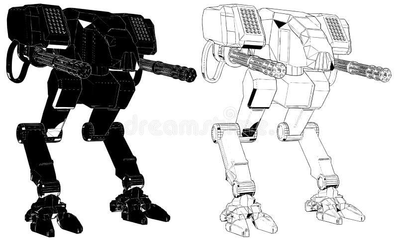 Kampf-Kampf-Roboter-Illustrations-Vektor lizenzfreie abbildung