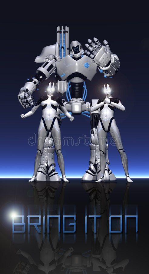 Kampf Roboter und Cyborgs vektor abbildung
