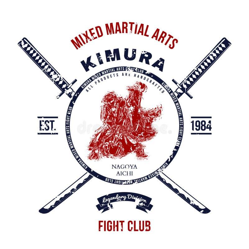 Kampf-Verein-Schmutzdruck mit Samuraiklingen Vektor stock abbildung