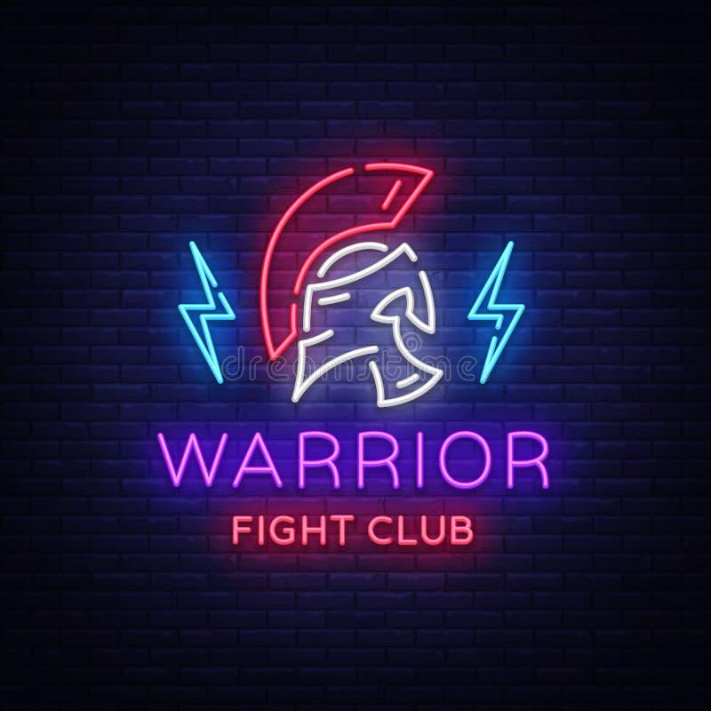 Kampf-Vereinleuchtreklame Kriegerslogo in der Neonart Entwerfen Sie Schablone, Sportlogo, spartanischer Krieger Nachtkampf, Krieg lizenzfreie abbildung