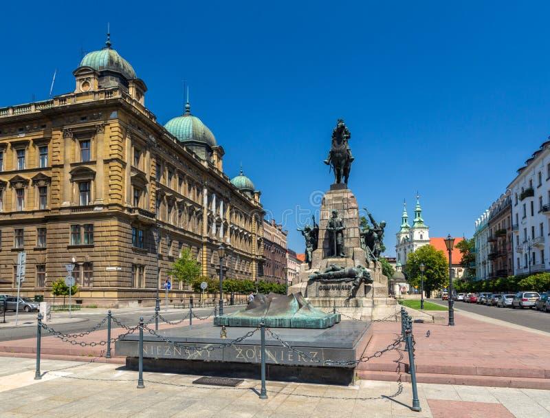 Kampf von Grunwald-Monument in Krakau, Polen stockbilder