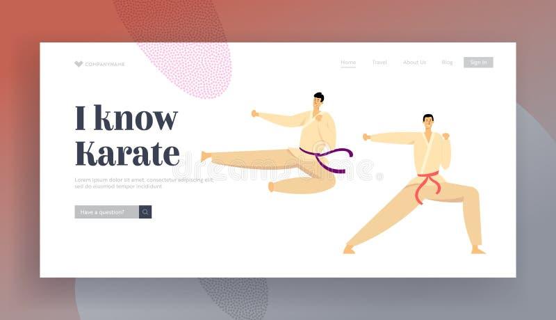Kampf-Wettbewerbs-Sport-Leben-Website-Landungs-Seite, die Sportler, die Kimono und Gurte tragen, stoßen im Karate-Luft-Tritt zusa stock abbildung