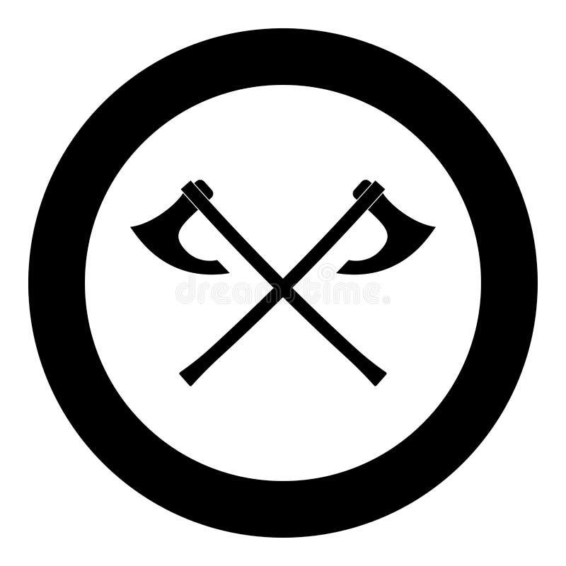 Kampf zwei behaut schwarzen Vektor Wikinger-Ikone FarbArtbild der runden Illustration des Kreises im flachen vektor abbildung