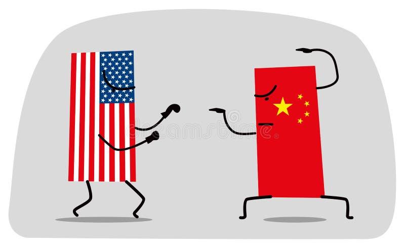 Kampf zwischen lustigen Flaggen von USA und China stock abbildung