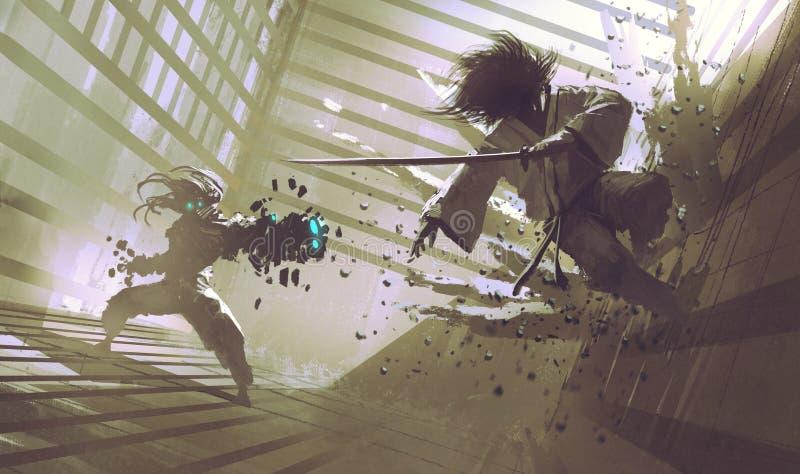Kampf zwischen Samurais und Roboter im Dojo lizenzfreie abbildung