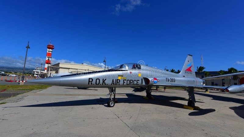 Kampfflugzeug Republik- Korealuftwaffen-Northrop F-5A auf Anzeige am pazifischen Luftfahrt-Museum Perle Habor stockfotografie