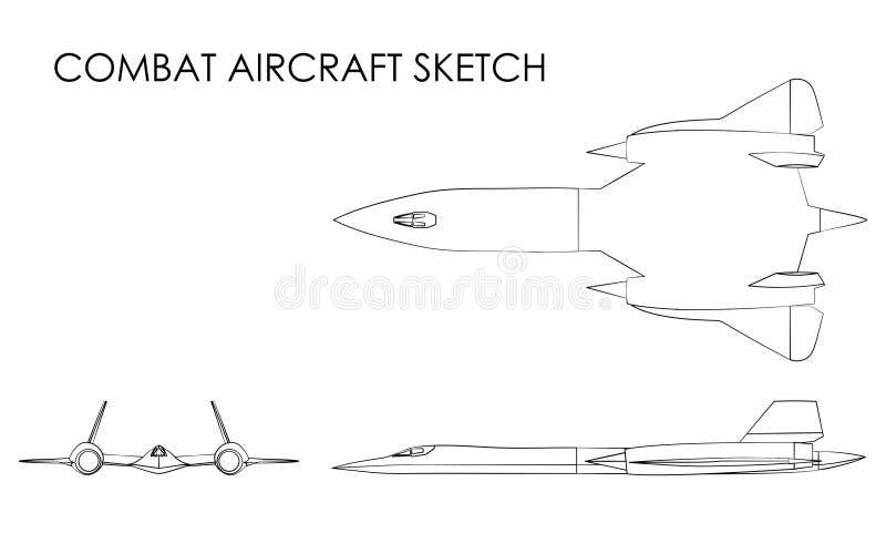 Kampfflugzeugentwurf mögen Pinselstriche lizenzfreie abbildung