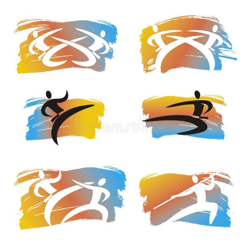 Kampfkünste, Karate, Taekwondo-Ikonen auf dem ausdrucksvollen Bürstenanschlaghintergrund vektor abbildung