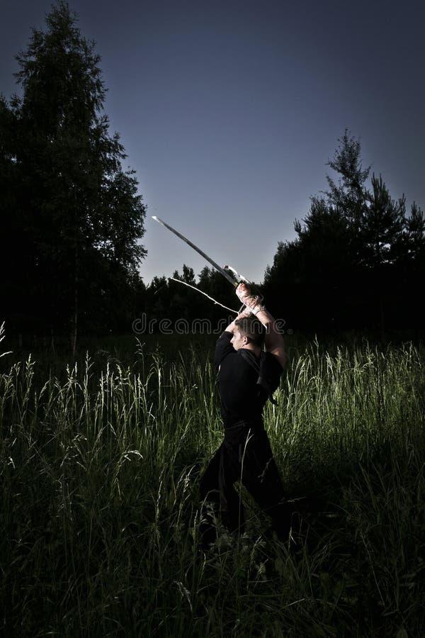 Kampfkünste nachts stockfotos