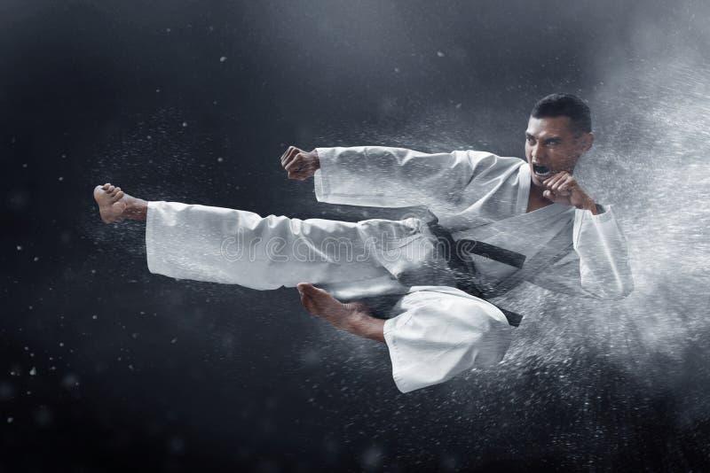 Kampfkunstkarate-Sprungstritt lizenzfreie stockfotos