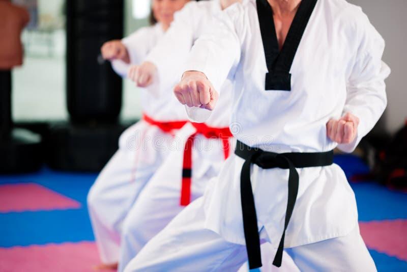 Kampfkunstsporttraining in der Gymnastik stockfotografie