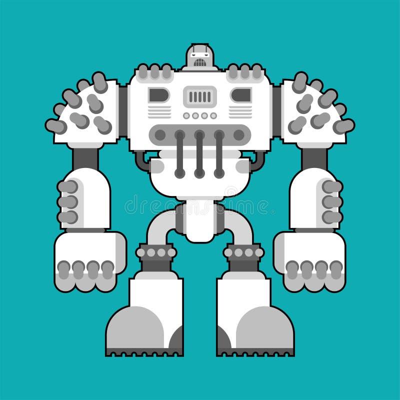 Kampfroboter lokalisiert Cyborgkriegerszukunft Vektor Illustratio lizenzfreie abbildung