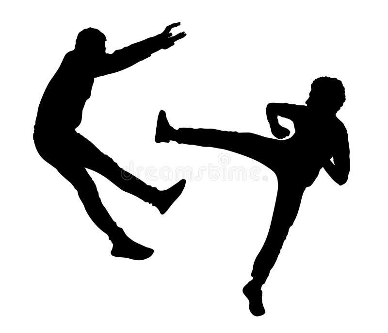 Kampfschattenbild, Kampf mit zwei Männern vektor abbildung