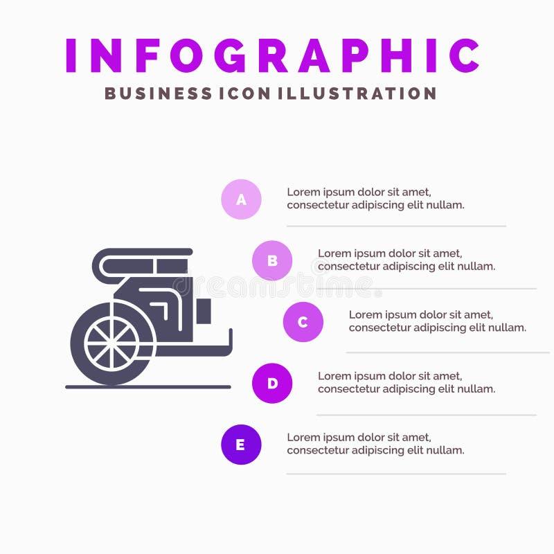 Kampfwagen, Pferde, alt, Prinz, Ikone Griechenlands fester Schritt-Darstellungs-Hintergrund Infographics 5 vektor abbildung