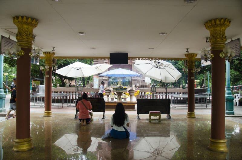Kamphaengphet市在中心城市的柱子寺庙在Kamphaeng Phet,泰国 库存图片
