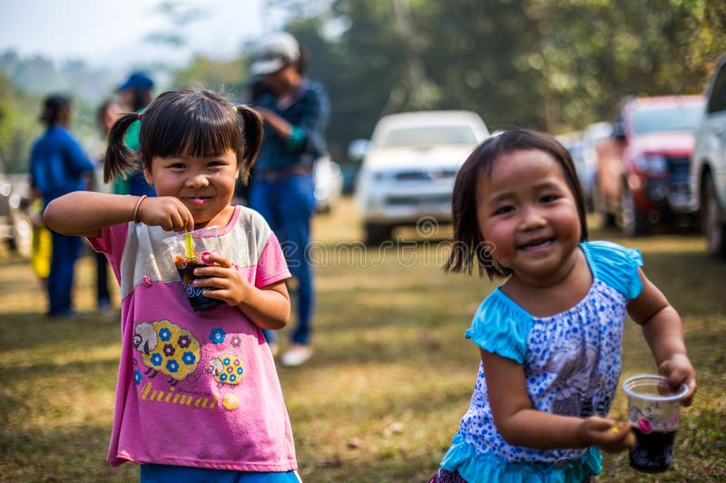 KAMPHAENGPHET, THAILAND - January 08, 2014 All ethnic group in Thailand very poor but has beautiful culture, These Children`s. Karen very cute and innocent royalty free stock image