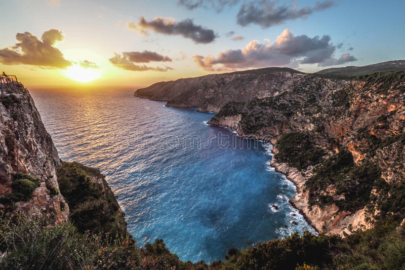 Kampi, de plaats voor de mooiste zonsondergang in Zakynthos isl stock fotografie